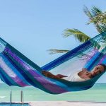 Outdoor Nylon hammock in orquidea