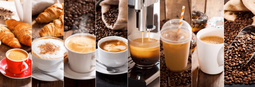 Different types of coffee from different coffee chains