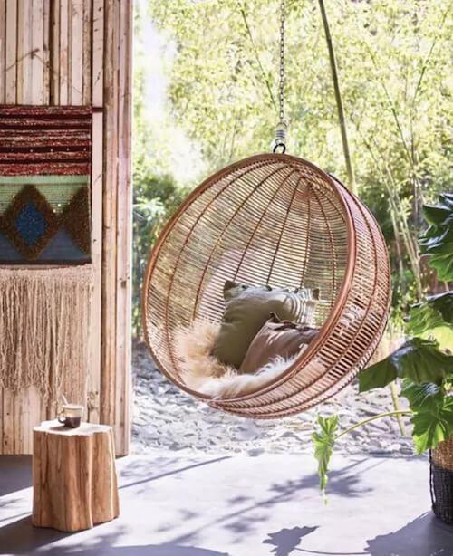 HK Living Natural Rattan Hanging Egg Chair